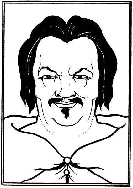 Omslagsteckning med Balzacs huvud