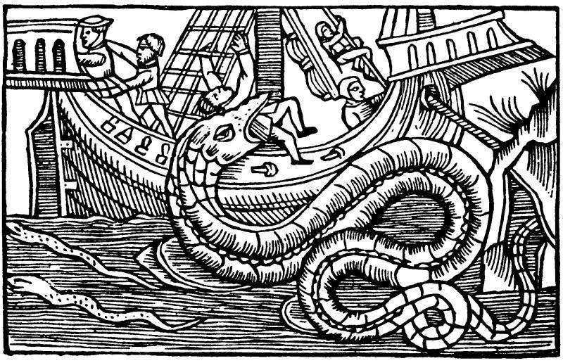 Om den norska hafsormens och andra ormars storlek