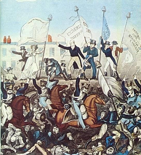 Peterloo Massacre 1819 (färglagd gravyr)