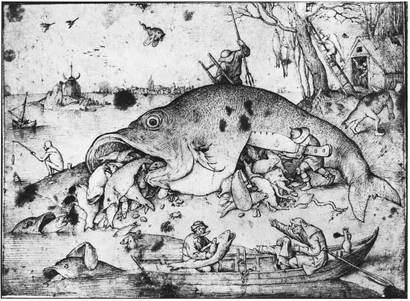Den stora fisken äter den lilla