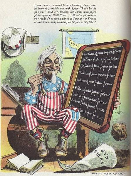 Uncle Sam as a smart little schoolboy …