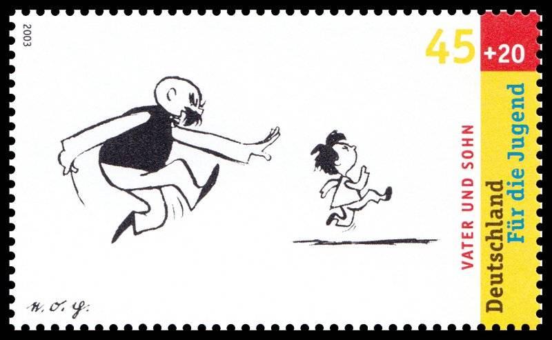 Far och son som frimärke