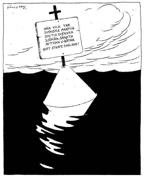 Arbetaren: - Skall det aldrig sluta, detta förfärliga krig? Livsmedelsjobbaren: - Måtte det bara räcka länge! Från 1915.